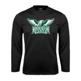 Performance Black Longsleeve Shirt-Alternate Full Hawk Logo Two Color