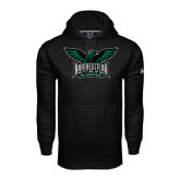 Under Armour Black Performance Sweats Team Hoodie-Alternate Full Hawk Logo Full Color