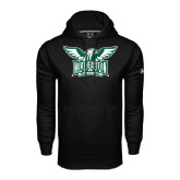 Under Armour Black Performance Sweats Team Hoodie-Alternate Full Hawk Logo Two Color