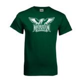 Dark Green T Shirt-Alternate Full Hawk Logo Two Color