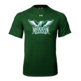 Under Armour Dark Green Tech Tee-Alternate Full Hawk Logo Two Color