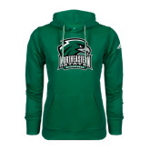 Adidas Climawarm Dark Green Team Issue Hoodie-Northeastern State RiverHawks w/Hawk Head