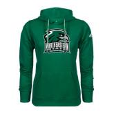 Adidas Climawarm Dark Green Team Issue Hoodie-Northeastern State RiverHawks w/Hawk Head