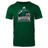 Adidas Dark Green Logo T Shirt-Northeastern State RiverHawks w/Hawk Head