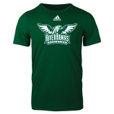 Adidas Dark Green Logo T Shirt-Alternate RiverHawks Athletics Two Color