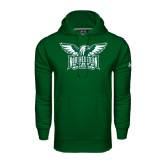 Under Armour Dark Green Performance Sweats Team Hoodie-Alternate Full Hawk Logo Two Color