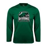 Performance Dark Green Longsleeve Shirt-RiverHawks Athletics