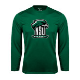 Performance Dark Green Longsleeve Shirt-Baseball