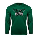 Performance Dark Green Longsleeve Shirt-Alternate Full Hawk Logo Full Color