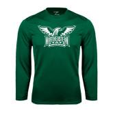Performance Dark Green Longsleeve Shirt-Alternate Full Hawk Logo Two Color