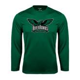 Performance Dark Green Longsleeve Shirt-Alternate RiverHawks Athletics Full Color