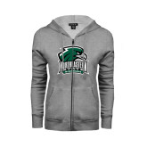 Ladies Grey Fleece Full Zip Hoodie-Northeastern State RiverHawks w/Hawk Head