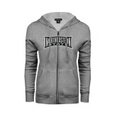 Ladies Grey Fleece Full Zip Hoodie-Northeastern State