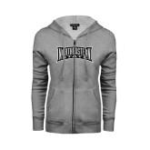 ENZA Ladies Grey Fleece Full Zip Hoodie-Northeastern State