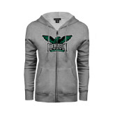 Ladies Grey Fleece Full Zip Hoodie-Alternate Full Hawk Logo Full Color