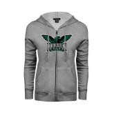ENZA Ladies Grey Fleece Full Zip Hoodie-Alternate Full Hawk Logo Full Color