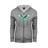 Ladies Grey Fleece Full Zip Hoodie-Alternate RiverHawks Athletics Two Color