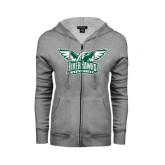 ENZA Ladies Grey Fleece Full Zip Hoodie-Alternate RiverHawks Athletics Two Color