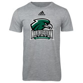 Adidas Sport Grey Logo T Shirt-Northeastern State RiverHawks w/Hawk Head