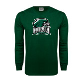 Dark Green Long Sleeve T Shirt-Northeastern State RiverHawks w/Hawk Head