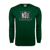 Dark Green Long Sleeve T Shirt-NSU Northeastern State