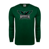 Dark Green Long Sleeve T Shirt-Alternate Full Hawk Logo Full Color