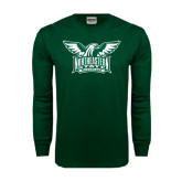 Dark Green Long Sleeve T Shirt-Alternate Full Hawk Logo Two Color
