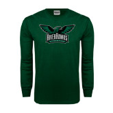 Dark Green Long Sleeve T Shirt-Alternate RiverHawks Athletics Full Color