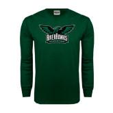 Dark Green Long Sleeve T Shirt-Alternate RiverHawks Athletics Reduced Color
