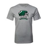 Grey T Shirt-Northeastern State RiverHawks w/Hawk Head