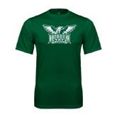Performance Dark Green Tee-Alternate Full Hawk Logo Two Color