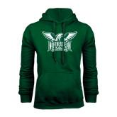 Dark Green Fleece Hood-Alternate Full Hawk Logo Two Color
