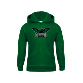 Youth Dark Green Fleece Hoodie-Alternate Full Hawk Logo Full Color