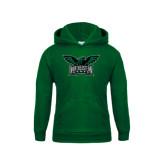 Youth Dark Green Fleece Hoodie-Alternate Full Hawk Logo Full Color