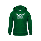 Youth Dark Green Fleece Hoodie-Alternate Full Hawk Logo Two Color