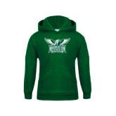 Youth Dark Green Fleece Hoodie-Alternate Full Hawk Logo Two Color