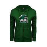 ENZA Ladies Dark Green Fleece Full Zip Hoodie-Northeastern State RiverHawks w/Hawk Head