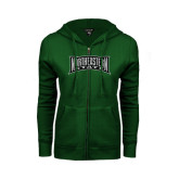 ENZA Ladies Dark Green Fleece Full Zip Hoodie-Northeastern State