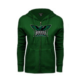 ENZA Ladies Dark Green Fleece Full Zip Hoodie-Alternate Full Hawk Logo Full Color