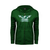 ENZA Ladies Dark Green Fleece Full Zip Hoodie-Alternate RiverHawks Athletics Two Color