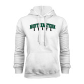 White Fleece Hoodie-Arched Northeastern State