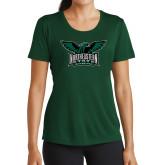 Ladies Performance Dark Green Tee-Alternate Full Hawk Logo Full Color