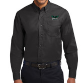 Black Twill Button Down Long Sleeve-Alternate Full Hawk Logo Reduced Color