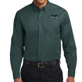 Dark Green Twill Button Down Long Sleeve-Alternate Full Hawk Logo Reduced Color
