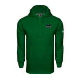 Under Armour Dark Green Performance Sweats Team Hoodie-Alternate Full Hawk Logo Reduced Color