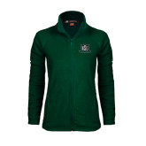 Ladies Fleece Full Zip Dark Green Jacket-NSU Northeastern State
