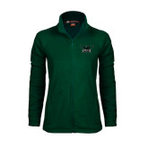 Ladies Fleece Full Zip Dark Green Jacket-Alternate Full Hawk Logo Reduced Color