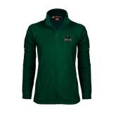 Ladies Fleece Full Zip Dark Green Jacket-Alternate Full Hawk Logo Reduced Color