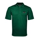 Dark Green Mini Stripe Polo-Alternate Full Hawk Logo Reduced Color