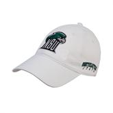 White Twill Unstructured Low Profile Hat-NSU RiverHawk Head
